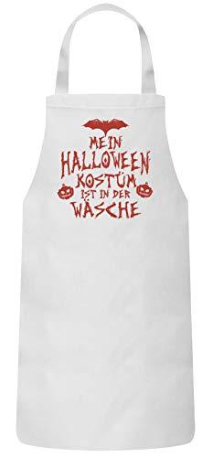 ShirtStreet Grusel Gruppen Frauen Herren Barbecue Baumwoll Grillschürze Kochschürze Mein Halloween Kostüm ist in der Wäsche 3, Größe: OneSize,Weiß