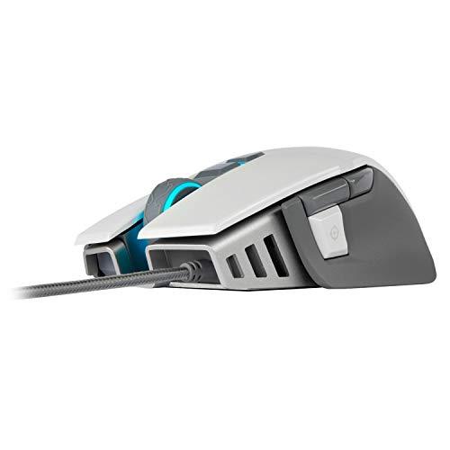 Corsair M65 Elite RGB Óptico FPS - Ratón para Juegos (18 000 PPP Óptico Sensor, Retroiluminación RGB LED, Sistema de Peso Ajustable) Color Blanco