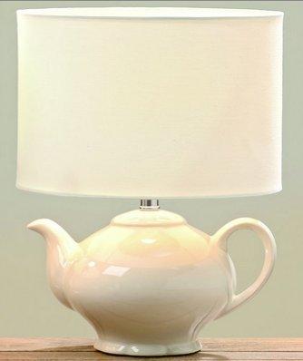 Lampe Kaffeekanne/Teekanne H33 D25cm creme Steingut Max 40W,1xE14,EU plug, Größe von Kabel:L1,8M...