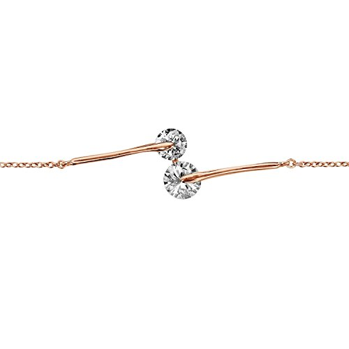 So chic gioielli© bracciale lunghezza regolabile: 16a 18cm rosa ossido di zirconio bianco placcato oro 750
