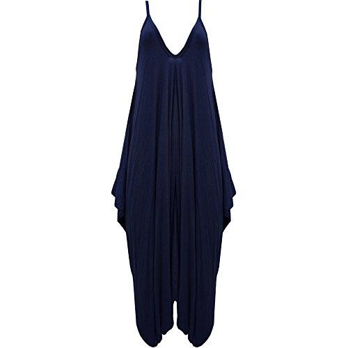Damen Hareems V Ausschnitt Harems Kleid Einteiler Hausanzug Strampler Damen Übergröße Navy - Loose Fitted Scoop Deep Neck Strappy Straps