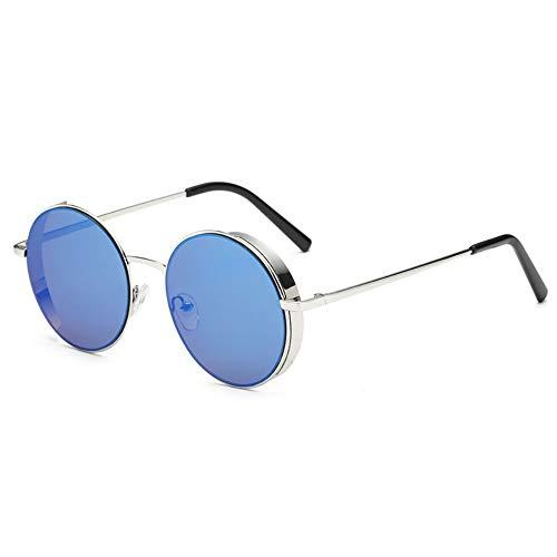 Sonnenbrille,Sonnenbrille Frauen Männer Sommer Mode Neue Abgerundete Klassische Sonnenbrille Metallrahmen Silber Blau