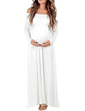 fab22385f1de Vestito Lungo Elegante Donna Cerimonia Premaman Abbigliamento Abito Spalle  Scoperte Maniche Lunghe Vestiti Stampa.