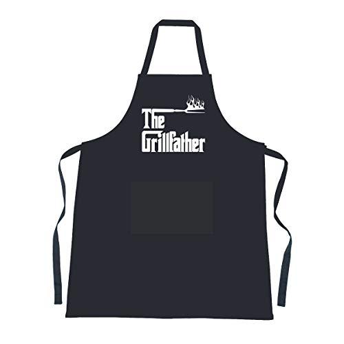 Cookify 'The Grillfather' schwarz Schürze Lustige Grill Geschenke für Männer Frauen und Jugendliche, 100% Baumwolle, schwarz, Erwachsene M -