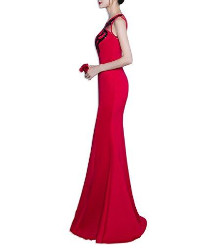 KAXIDY Longue Robe Soiree Elegante Robes de Soirée Longue Femme Robe de Mariée Bal Soirée Rouge