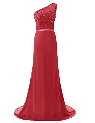 Dresses Onlie Chiffon Eine Schulter Abendkleider Lang Spitze Ballkleid Brautjunferkleid-Rot-50
