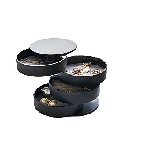 Bling Schmuck Aufbewahrungsbox für Frauen Pivoting 4-Tiered Tray Jewelry Storage Organizer mit Deckeln,Black - Schmuck Mit Schrank Große Lock