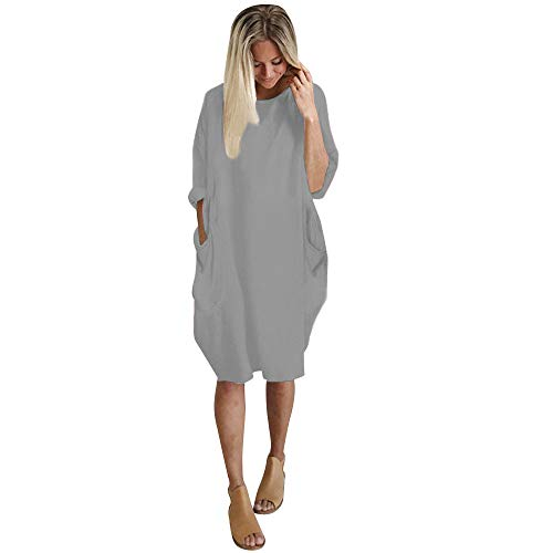 Overdose Damen Freizeit Kleider Leinenkleider 1/2 Ärmel Rundhals Einfarbig Casual Urlaub Sommerkleider Strandkleid Midi Dress Frauen kostüme übergröße (EU 38/CN M, Y-Gelb) -