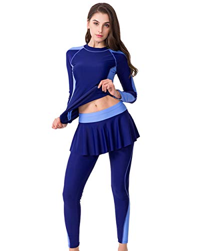 UR MAX BEAUTY Damen Ganzkörper Rash Guard Split Bademode Farbe Block Streifen Print Surf Anzug Plus Größe Langarm Top Mit Rock Hose Bademode,Blue,6XL -