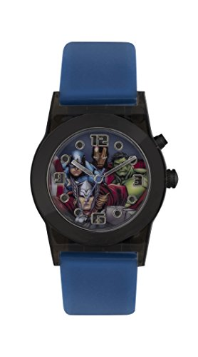 Avengers-Boys-Quartz-Watch-with-Blue-Dial-Analogue-Display-and-Blue-Rubber-Strap-AVG3509