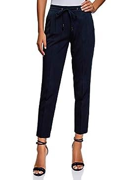 oodji Ultra Mujer Pantalones con Cintura Elástica y Cordones