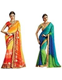 Mantra Fashions Women's Georgette Saree (Mant39_Multi)-Pack of 2