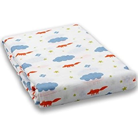 milkii Swaddle garza asciugamano 100% Mussola di cotone, 120x 120cm, Volpe