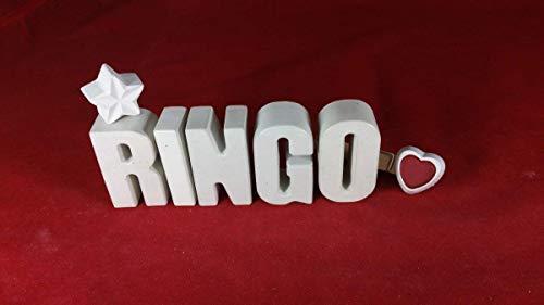 Beton, Steinguss Buchstaben 3D Deko Namen RINGO mit Stern und Herzklammer als Geschenk verpackt! Ein ausgefallenes Geschenk zur Geburt, Taufe, Geburtstag, Namenstag oder auch zu Weihnachten.