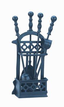 Manor victorian companion - set accessori per pulizia camino, colore: nero