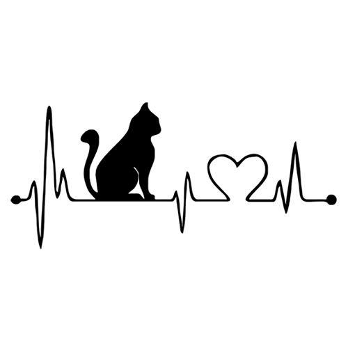 Heaviesk Auto Aufkleber Haustier Katze Herzschlag Lifeline PET Aufkleber Einzigartige Karosserie Aufkleber Auto Styling LKW Zubehör