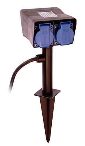 as - Schwabe 60684 Erdspiess-Verteilersteckdose 4-fach mit zwei Meter Kabel, für den Außenbereich