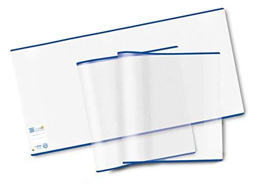HERMA 7255 Buchumschlag HERMÄX Classic (Größe 25,5 x 54 cm, transparent) Buchhülle aus robuster Folie mit Namensetikett, 10er Set Buchschoner für Schulbücher 25.5