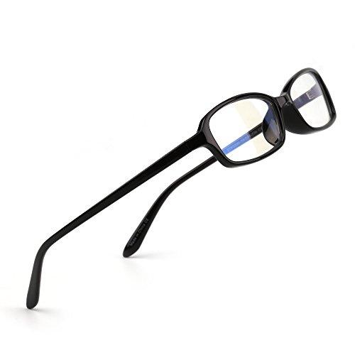 JIM HALO Computer Lesebrille Retro Oval und Rechteck Gaming Brillen Anti-Blaulicht-Objektiv für digitale Bildschirme(Schwarz/Rechteck klar)