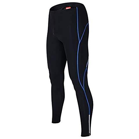 ALLY Cycling Tights pants Men's 3D Coolmax Paded Legging Bicyle Cycle Trousers Cycling Bottoms (Black/Blue, M 30