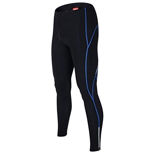 """ALLY Pantaloni Ciclismo Invernale Uomo, Bicicletta Collant a Compressione Pantaloni Lunghi, 3D Coolmax Imbottite Leggings Calzamaglia (Black/Blue, L """"32-34"""")"""