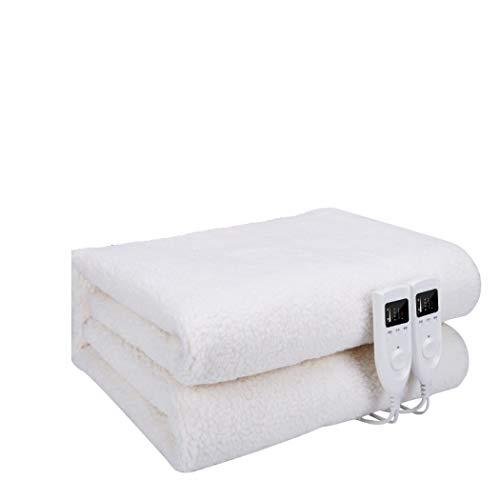 HANTAO Manta eléctrica, Manta calefactora (180 * 150 cm), Manta de Calentamiento no Tejida con Doble Control Inteligente, cómoda y Segura,A_180*160cm,