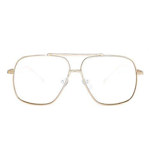 Oversize Flieger Sonnenbrille Gradient Klar Linse Pilot Metall Gläser Damen Herren(Gold/Klar)
