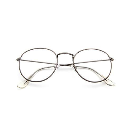 EUCoo Brillengestell Mode Retro Metall Runden Rahmen Spiegel Flache Brille Student GläSer(Grau)