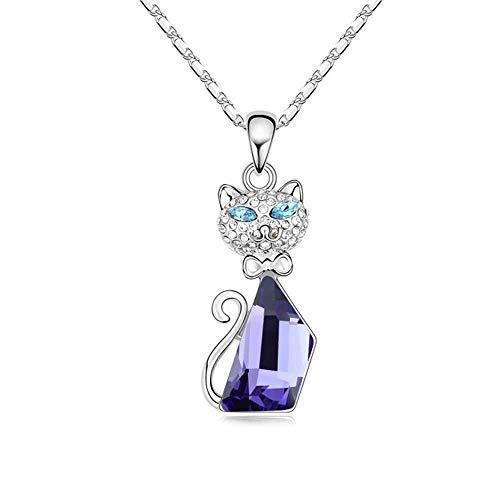 Wtdlove collana con elementi in cristallo gatto ornamento pendente ragazza