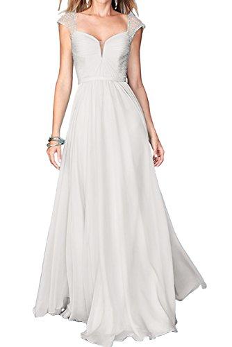 Ivydressing Damen Abendkleider Trager A-Linie Chiffon Festkleid Partykleider Promkleider Weiß