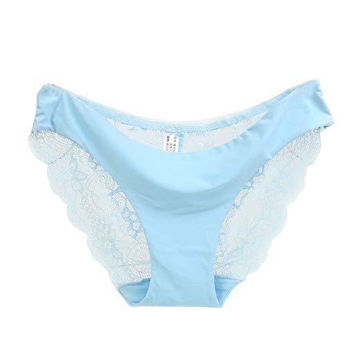 Morran Tanga Panties Spitze Bikinislips Bikinihose String Rüschen Brazilian Bikini Sexy Spitzen Slips Strings Höschen G-String Damen Unterhose(Blau,L)