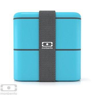 Monbento Square himmelblau - Die quadratische Bento-Box + Edelstahlstyling Universalmesser GRATIS -