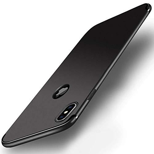 Seinal Handycase Hülle für iPhone XS/X Bumper Case ultradünn Handyhülle Weiche tpu silikon Softcase Cover slim Schutzhülle plastik Schutztasche staubschutz Schalefür Apple XSLogo Sichtbar-Matt schwarz -