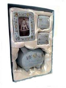 Baby Set in Hellblau Sparschwein Zahndose, Michzahn, Haardose, Fotorahmen