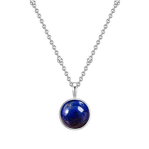 Glanzstücke Damen-Kette Sterling Silber mit Anhänger Lapislazuli blau Länge 40 cm + Verlängerung 5 cm - Edelsteinkette für Frauen Heilsteine Lapis-lazuli