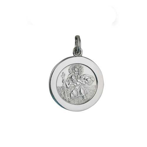 Palladium 21mm round St Christopher Pendant with car boat train plane on back