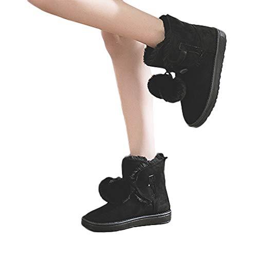 TianWlio Stiefel Frauen Herbst Winter Schuhe Stiefeletten Boots Mode Winter Schuh Heiße Hairball Stiefeletten Beiläufige Runde Zehe Schnee Stiefel Schwarz 39