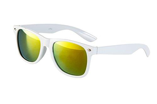 Sonnenbrille Nerd Nerdbrille Stil Brille Pilotenbrille Vintage Look - Ca 100 verschiedene Farben/Modelle wählbar (Weiß Gelb verspiegelt W44)