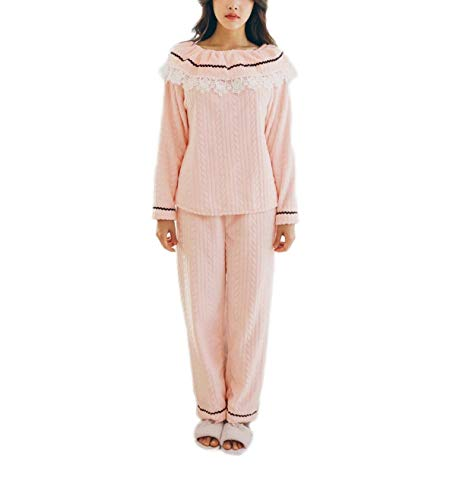 Schlafanzug Damen Elegante Soft Pyjama Wesentlich Cozy Fashion Pink Pyjama Set Luxus Flanell Langarm Pyjama Top Nachtwäsche (Color : Pink, Size : XL)