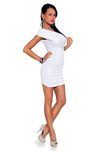 Futuro Fashion Damen Mini Wickelkleid Ärmellose V Ausschnitt Bodycon Einheitsgröße 8-12 UK 8117 Weiß
