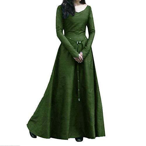 (Damen Maxikleid Langes Elegantes Einfarbig Renaissance Langarm Umstandsmode Vintage Mittelalterlich Bandbreite Partykleid Abendkleider (Color : Grün, Size : XL))