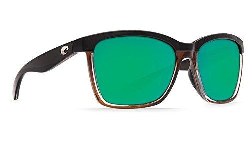 Costa Del Mar New anaa 107glänzend schwarz auf braun Sonnenbrille für Damen, Grün, ANA107OGMP