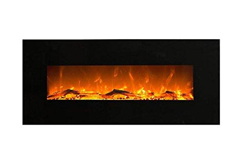 Elektrokamin Glow Fire Mars, 130 cm breit, Wandkamin elektrisch (1500 Watt Heizlüfter, Farbige LED-Beleuchtung; Glasscheibe, Dimmer, Fernbedienung) schwarz (Flammen mit Holzdekoration)