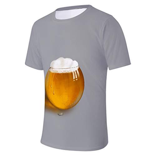 Herren Sommer 3D Bier Gedruckt Kurzen T-Shirt Ärmeln Mode Komfort Bluse Top Classics Herren T-Shirt Shaped Long Tee lang geschnitten mit aberundetem Saum