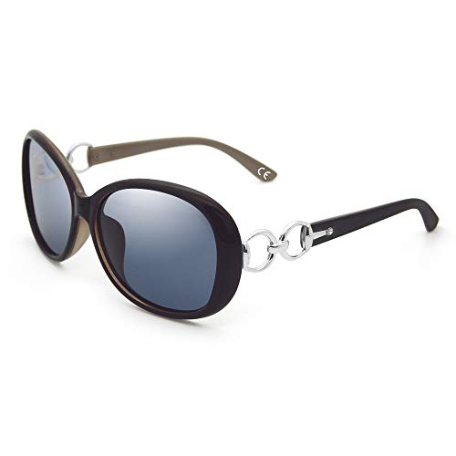 BLEVET Klassisch Groß Damen Sonnenbrille Polarisiert 100% UV-Schutz (Coffee Frame Black Lens)