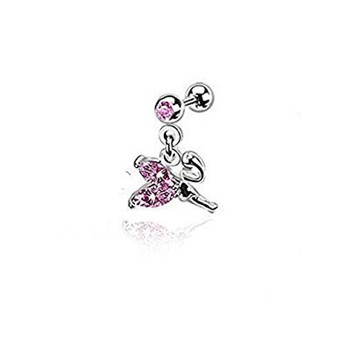 Fliegen Petite Fee mit rosa Kristall-Flügel baumeln Tragus oder Cartilage Piercing Stärke: 1,2 mm Länge: 6 mm Material: Chirurgenstahl (Männliche Fee Kostüm)