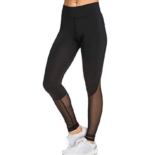 YUNMENG Sexy Yoga Leggings Schwarz Ladies 'Side Patchwork Gaze Hip-Lifting-Übung Yogahosen Neun-Minuten-Hosen 2019