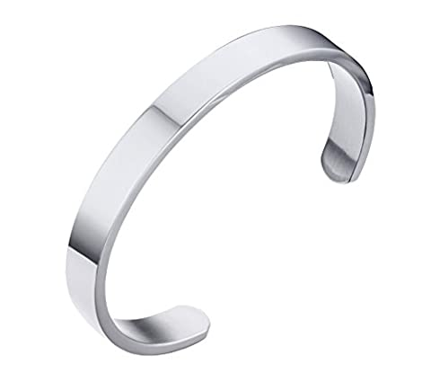 HIJONES Unisex's Stainless Steel Silver Bangle Cuff Bracelet for Women and Men Width 8mm