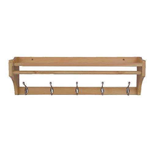 Xyanzi Holz Haken Rack, Schwimmende Mantel Und Hut Wandregal Mit 4/5/6 Metallhaken Und Oberen Regal Für Flur Badezimmer Wohnzimmer Schlafzimmer (Color : Wood Color, Size : 5 Hook) - Schwimmende Holz-mantel