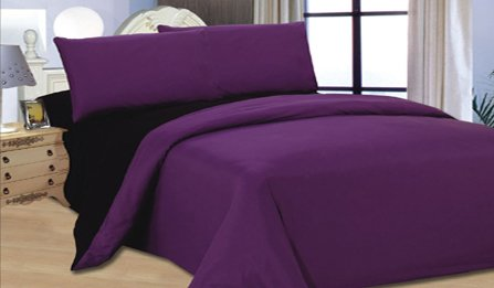 6PC COMPLETE REVERSIBLE BLACKCURRANT / BLACK DOUBLE DUVET COVER & FITTED SHEET BED SET by Viceroybedding